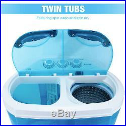 10 LBS Portable Mini Washing Machine Compact Twin Tub Washer Spiner Dryer Blue