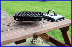 Black Portable Table & Floor Compact 13.5'' Charcoal Barbecue BBQ Outdoor Grill