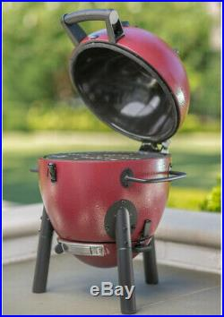 Charcoal Grill Kamado Red Compact Durable Affordable Lightweight Hinged Lid