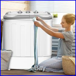 Compact Portable Washer Spin Dryer with Mini Washing Machine White