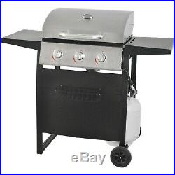 Gas Grill BBQ Propane 3-Burner Stainless Steel Backyard Outdoor Cooking Compact