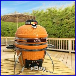 Icon Grills 100 Series 214 Square Inch Compact Portable Charcoal Grill, Orange