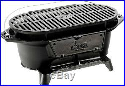 Lodge Sportsman's Grill Compact Cast Iron Grate Portable Picnic Camping Tailgate