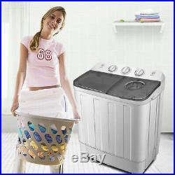 Portable Mini Washing Machine Compact Twin Tub 12lb Washer with Spin & Dryer Combo