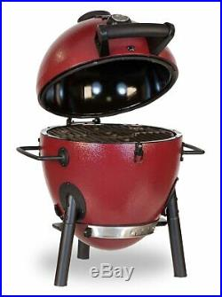 Red Charcoal kamado Grill, Compact For Camping, Durable Cooking Barbeque Grill